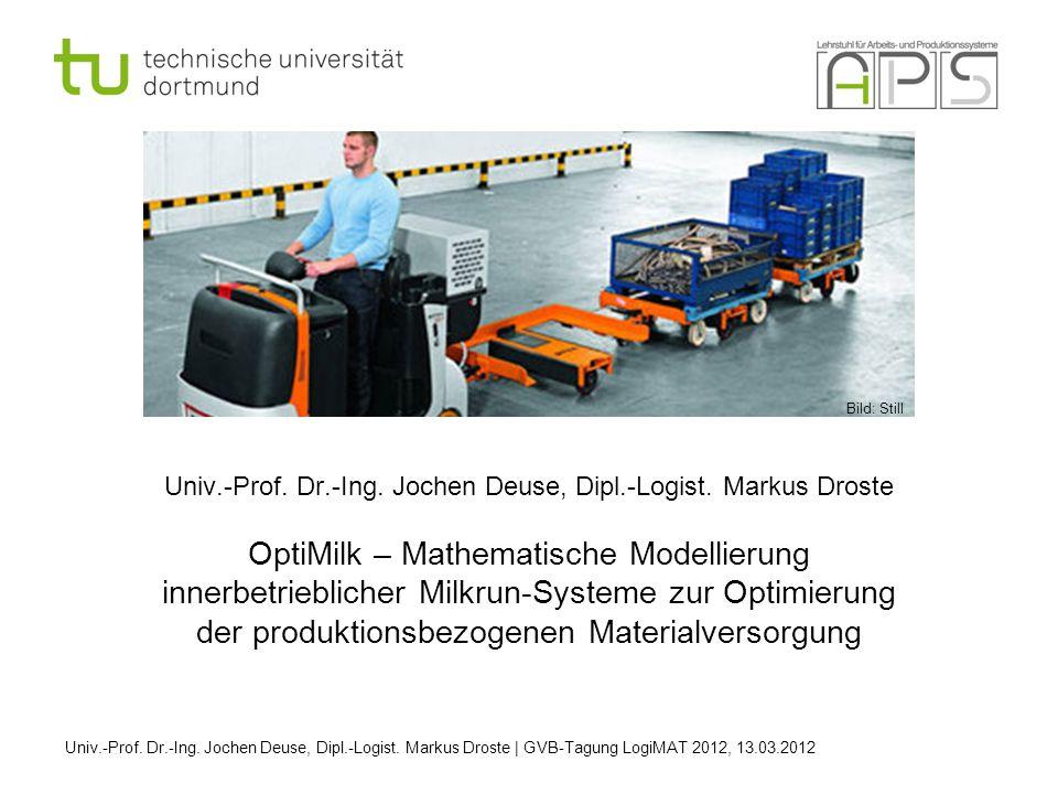 Univ.-Prof. Dr.-Ing. Jochen Deuse, Dipl.-Logist. Markus Droste OptiMilk – Mathematische Modellierung innerbetrieblicher Milkrun-Systeme zur Optimierun