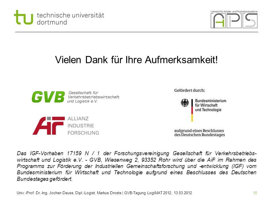 10 Vielen Dank für Ihre Aufmerksamkeit! Das IGF-Vorhaben 17159 N / 1 der Forschungsvereinigung Gesellschaft für Verkehrsbetriebs- wirtschaft und Logis