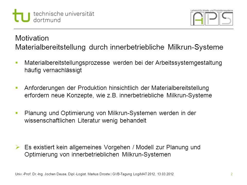 2 Motivation Materialbereitstellung durch innerbetriebliche Milkrun-Systeme Materialbereitstellungsprozesse werden bei der Arbeitssystemgestaltung häu