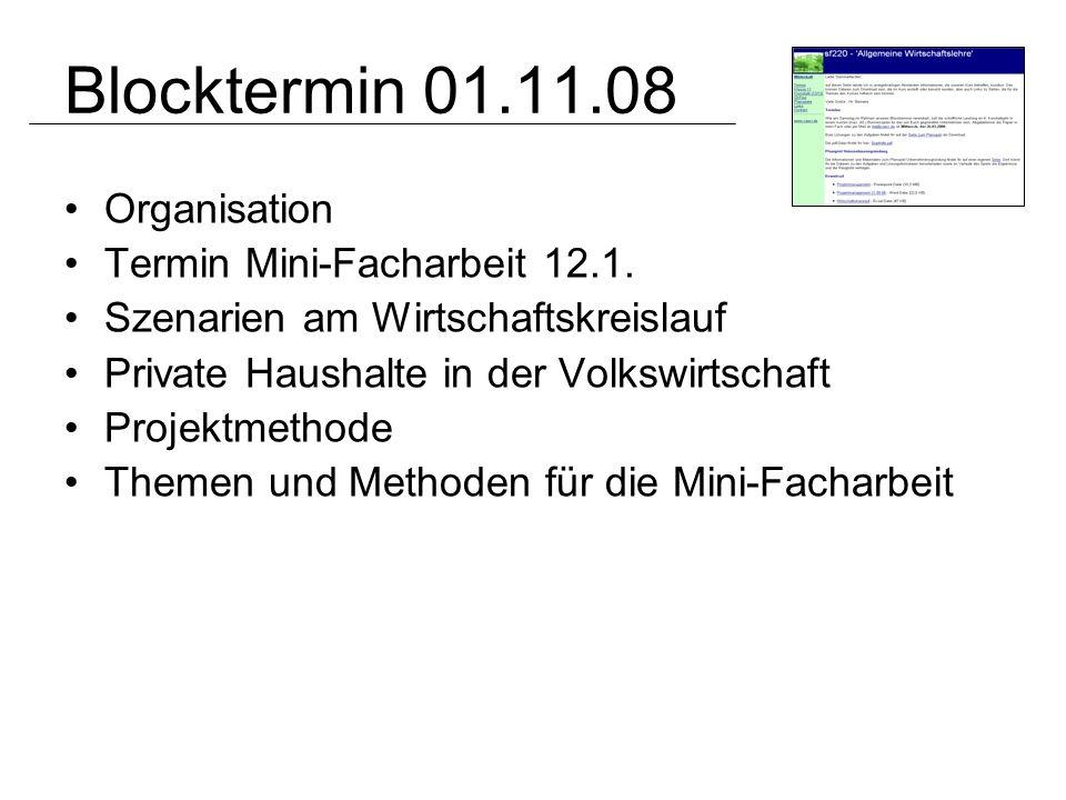 Blocktermin 01.11.08 Organisation Termin Mini-Facharbeit 12.1. Szenarien am Wirtschaftskreislauf Private Haushalte in der Volkswirtschaft Projektmetho