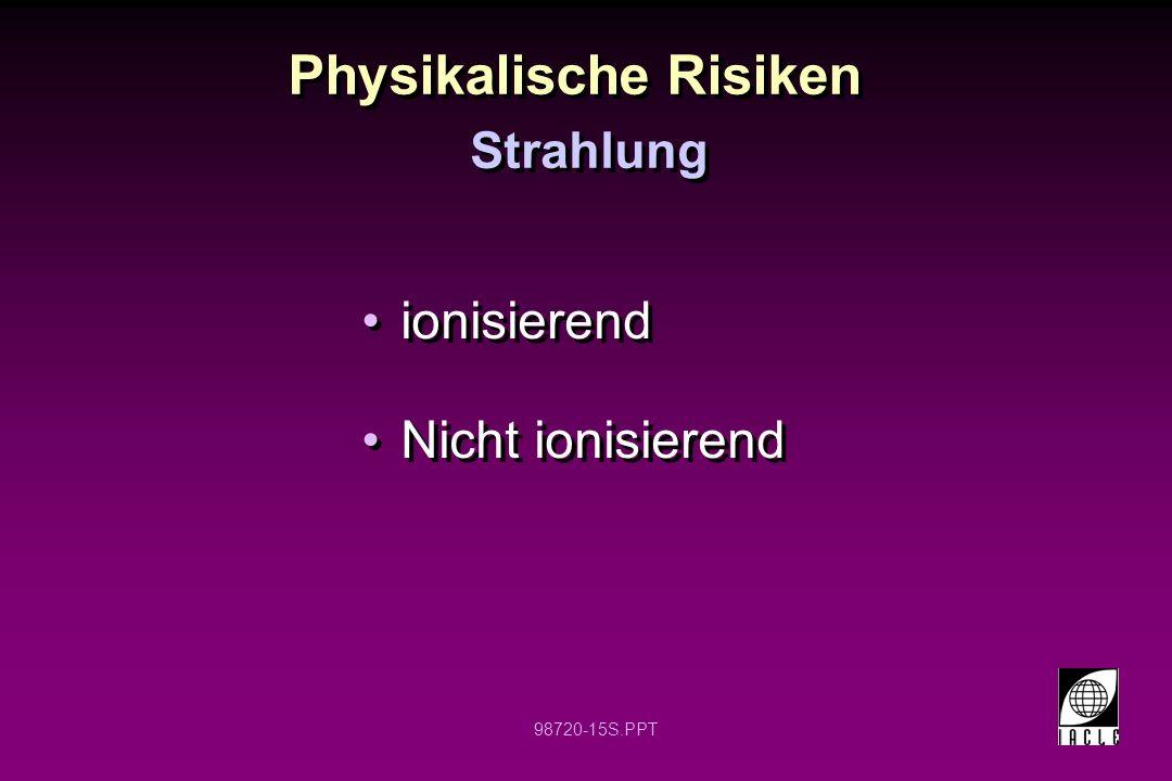 98720-15S.PPT Physikalische Risiken ionisierend Nicht ionisierend ionisierend Nicht ionisierend Strahlung