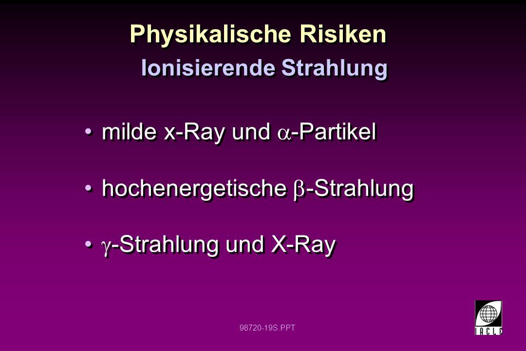 98720-19S.PPT Physikalische Risiken milde x-Ray und -Partikel hochenergetische -Strahlung -Strahlung und X-Ray milde x-Ray und -Partikel hochenergetis
