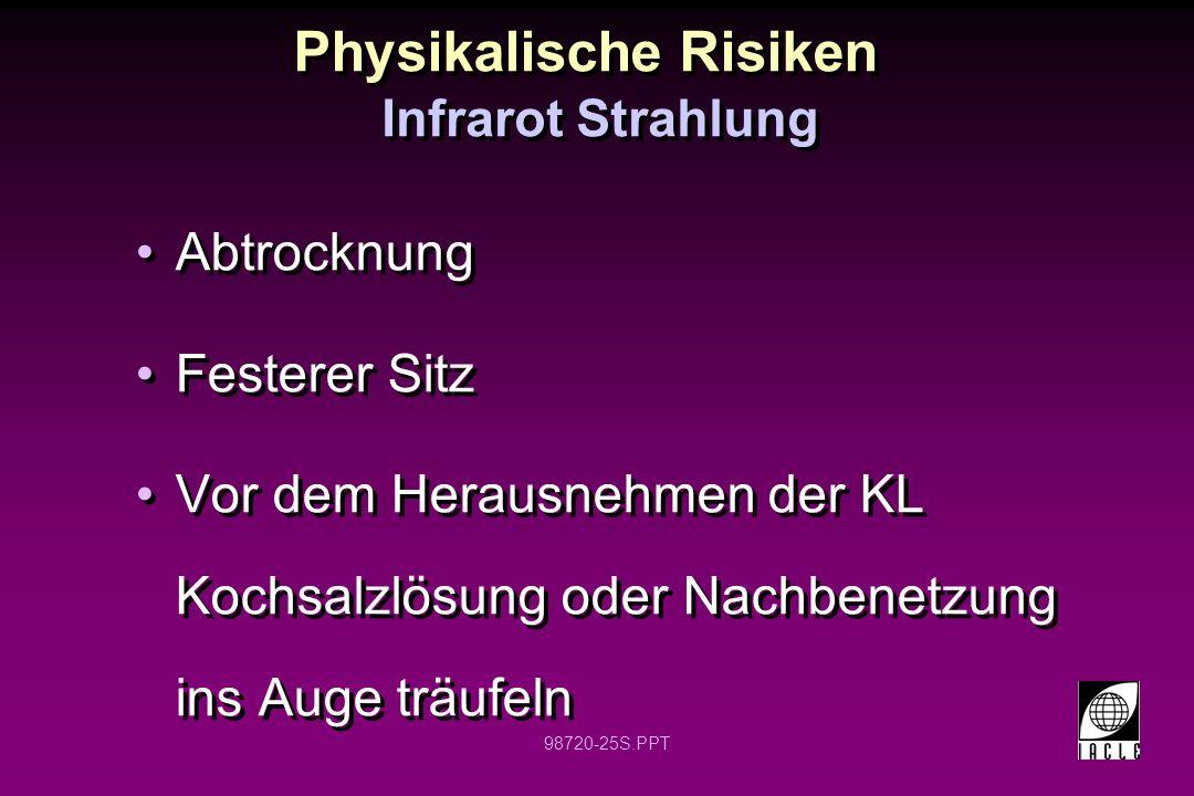 98720-25S.PPT Physikalische Risiken Abtrocknung Festerer Sitz Vor dem Herausnehmen der KL Kochsalzlösung oder Nachbenetzung ins Auge träufeln Abtrockn
