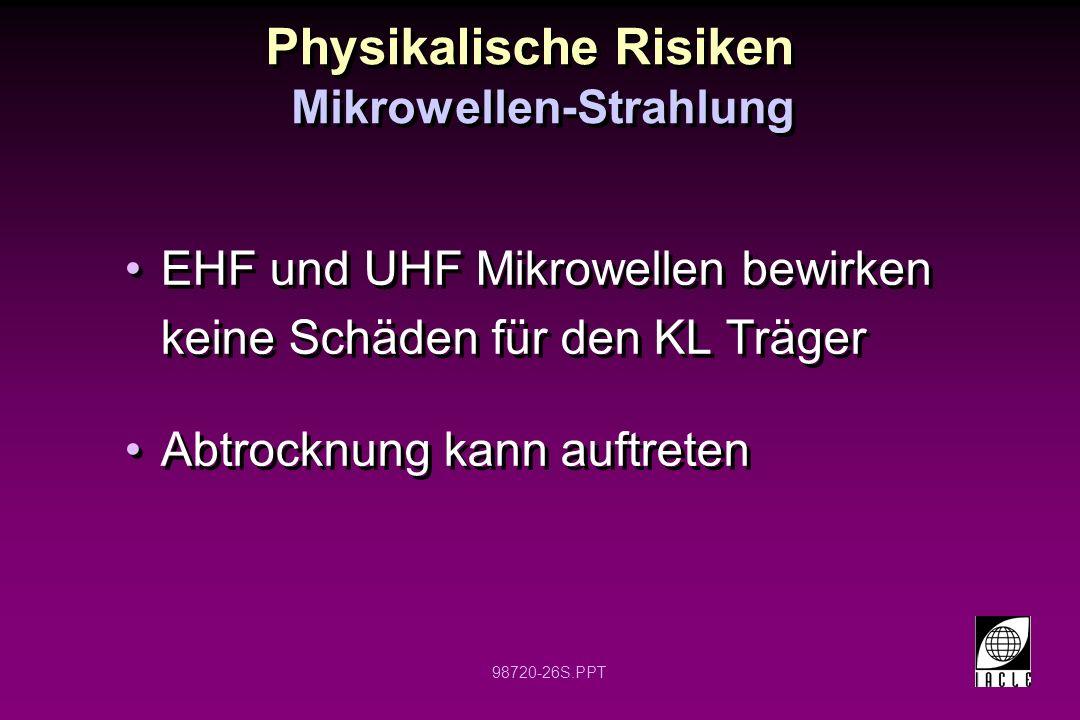 98720-26S.PPT Physikalische Risiken EHF und UHF Mikrowellen bewirken keine Schäden für den KL Träger Abtrocknung kann auftreten EHF und UHF Mikrowelle