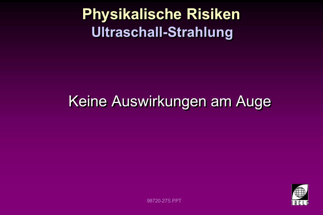 98720-27S.PPT Physikalische Risiken Keine Auswirkungen am Auge Ultraschall-Strahlung