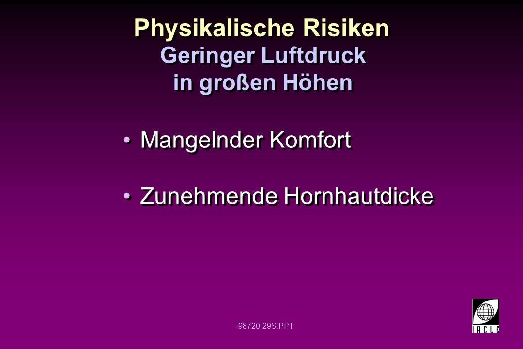 98720-29S.PPT Physikalische Risiken Mangelnder Komfort Zunehmende Hornhautdicke Mangelnder Komfort Zunehmende Hornhautdicke Geringer Luftdruck in groß