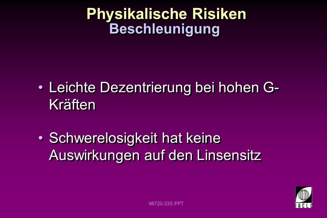 98720-33S.PPT Physikalische Risiken Beschleunigung Leichte Dezentrierung bei hohen G- Kräften Schwerelosigkeit hat keine Auswirkungen auf den Linsensi