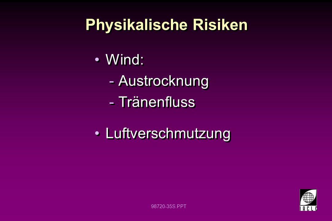 98720-35S.PPT Physikalische Risiken Wind: -Austrocknung -Tränenfluss Luftverschmutzung Wind: -Austrocknung -Tränenfluss Luftverschmutzung