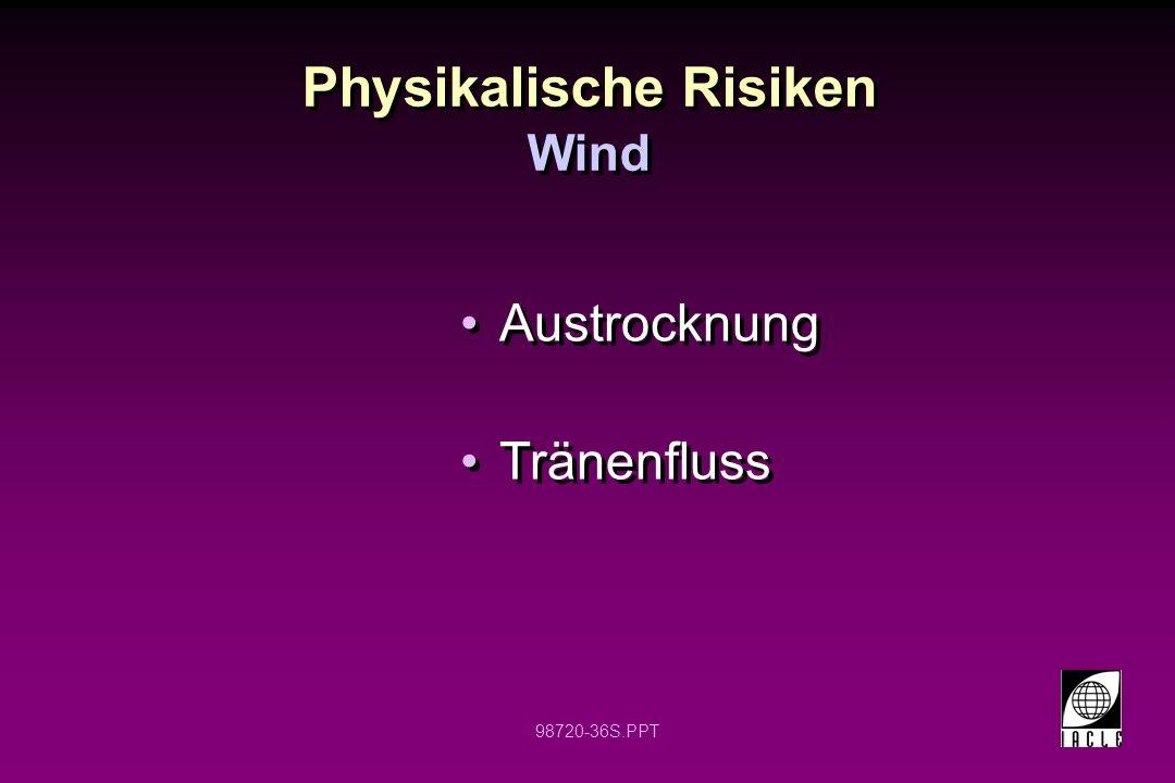 98720-36S.PPT Physikalische Risiken Austrocknung Tränenfluss Austrocknung Tränenfluss Wind