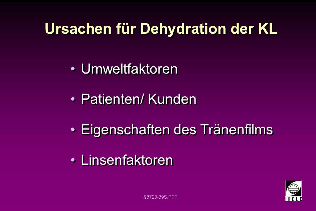 98720-39S.PPT Ursachen für Dehydration der KL Umweltfaktoren Patienten/ Kunden Eigenschaften des Tränenfilms Linsenfaktoren Umweltfaktoren Patienten/