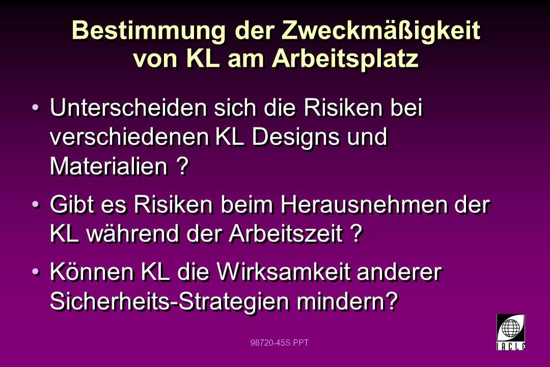 98720-45S.PPT Bestimmung der Zweckmäßigkeit von KL am Arbeitsplatz Unterscheiden sich die Risiken bei verschiedenen KL Designs und Materialien ? Gibt