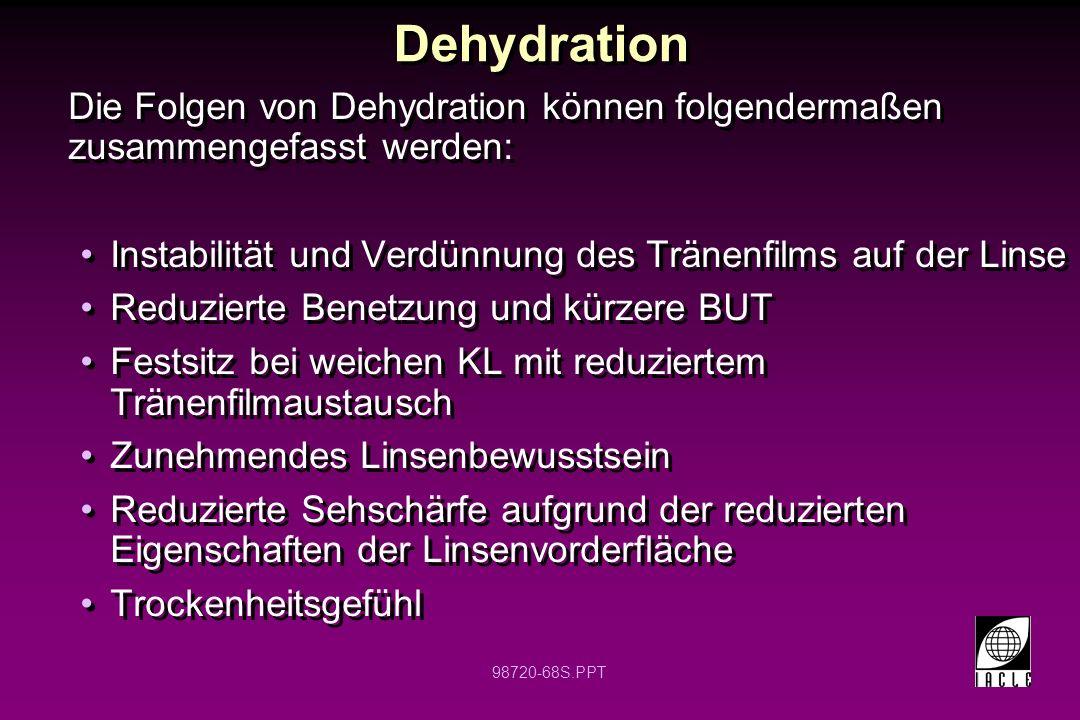98720-68S.PPT Dehydration Die Folgen von Dehydration können folgendermaßen zusammengefasst werden: Instabilität und Verdünnung des Tränenfilms auf der