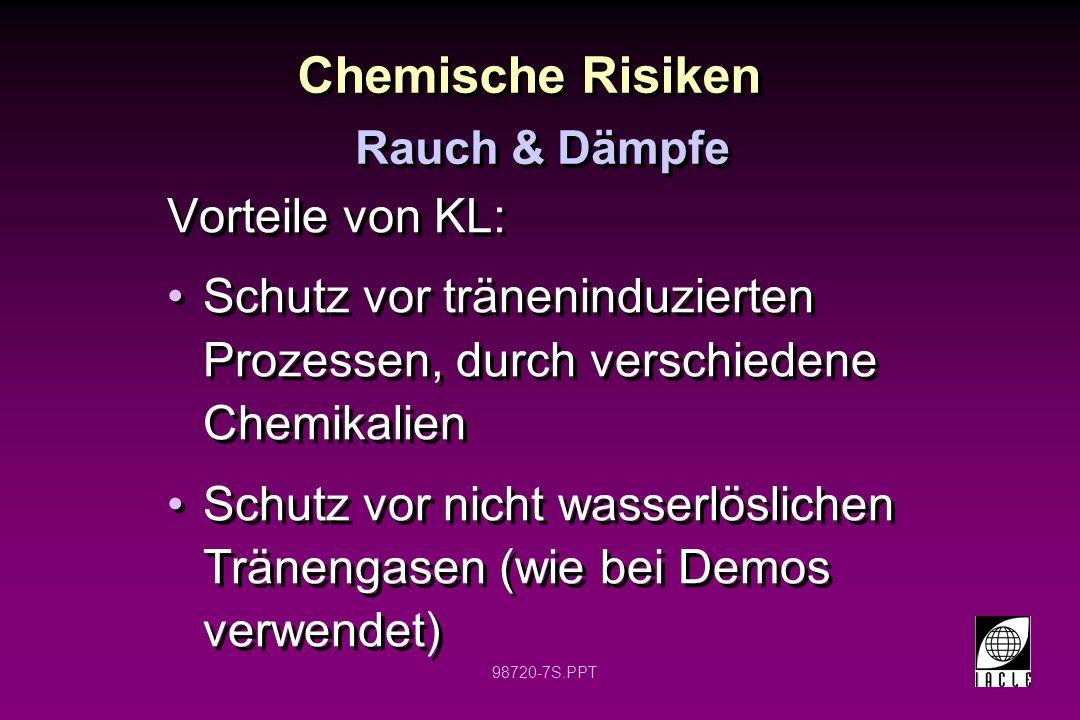 98720-7S.PPT Chemische Risiken Vorteile von KL: Schutz vor träneninduzierten Prozessen, durch verschiedene Chemikalien Schutz vor nicht wasserlösliche