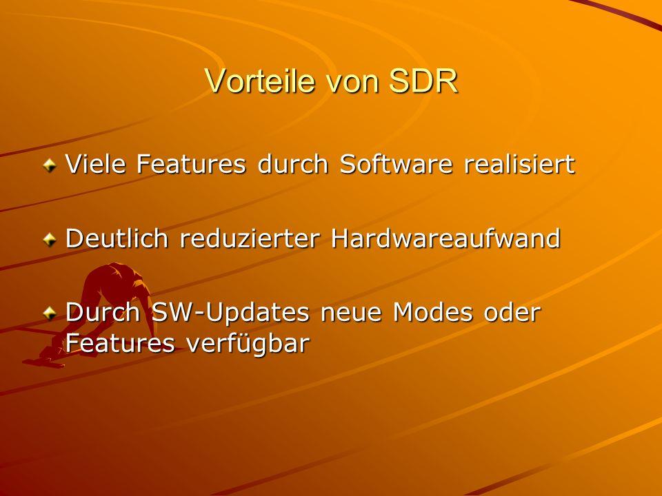 Vorteile von SDR Viele Features durch Software realisiert Deutlich reduzierter Hardwareaufwand Durch SW-Updates neue Modes oder Features verfügbar