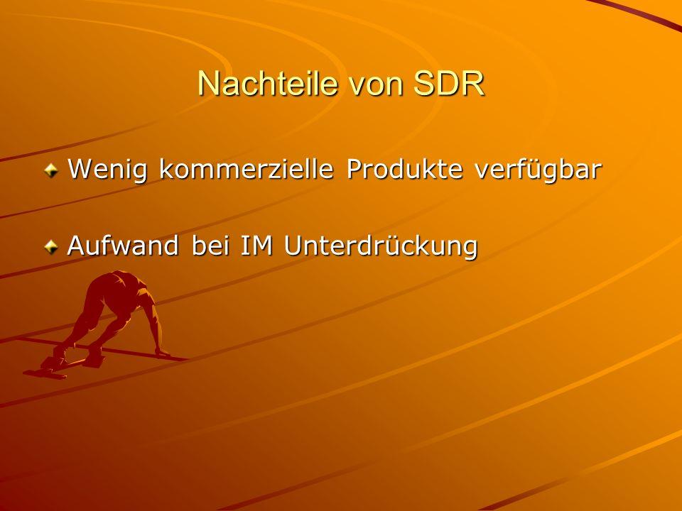 Nachteile von SDR Wenig kommerzielle Produkte verfügbar Aufwand bei IM Unterdrückung