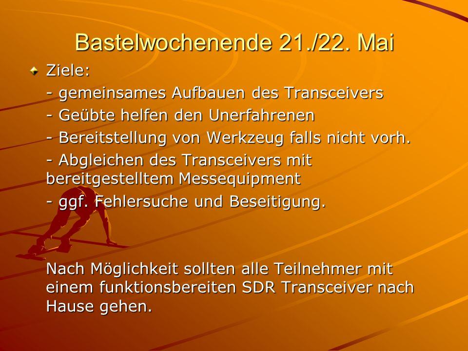 Bastelwochenende 21./22. Mai Ziele: - gemeinsames Aufbauen des Transceivers - Geübte helfen den Unerfahrenen - Bereitstellung von Werkzeug falls nicht