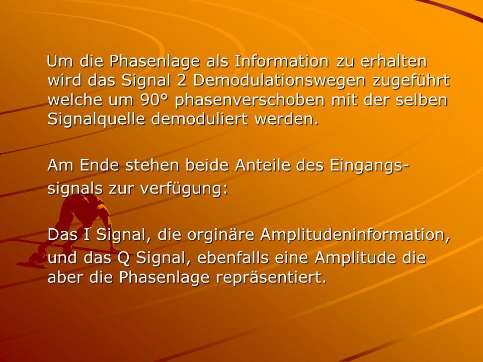 Um die Phasenlage als Information zu erhalten wird das Signal 2 Demodulationswegen zugeführt welche um 90° phasenverschoben mit der selben Signalquell