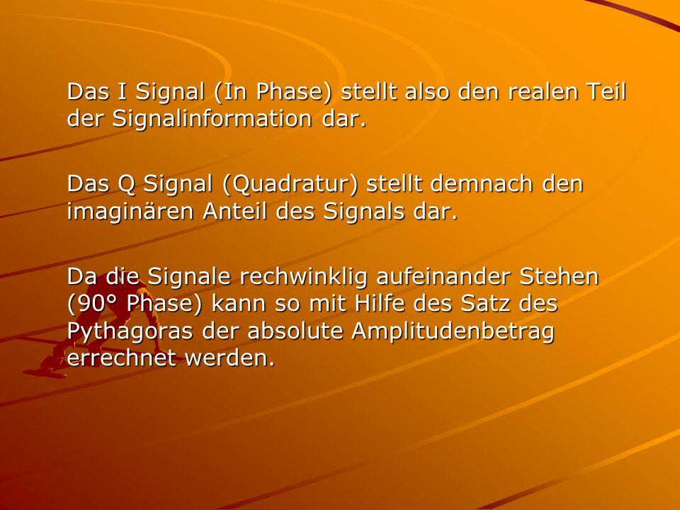 Das I Signal (In Phase) stellt also den realen Teil der Signalinformation dar. Das Q Signal (Quadratur) stellt demnach den imaginären Anteil des Signa