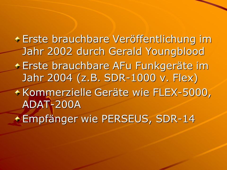 Erste brauchbare Veröffentlichung im Jahr 2002 durch Gerald Youngblood Erste brauchbare AFu Funkgeräte im Jahr 2004 (z.B. SDR-1000 v. Flex) Kommerziel