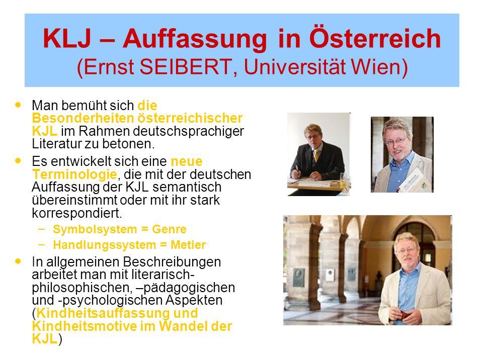 KLJ – Auffassung in Österreich (Ernst SEIBERT, Universität Wien) Man bemüht sich die Besonderheiten österreichischer KJL im Rahmen deutschsprachiger Literatur zu betonen.