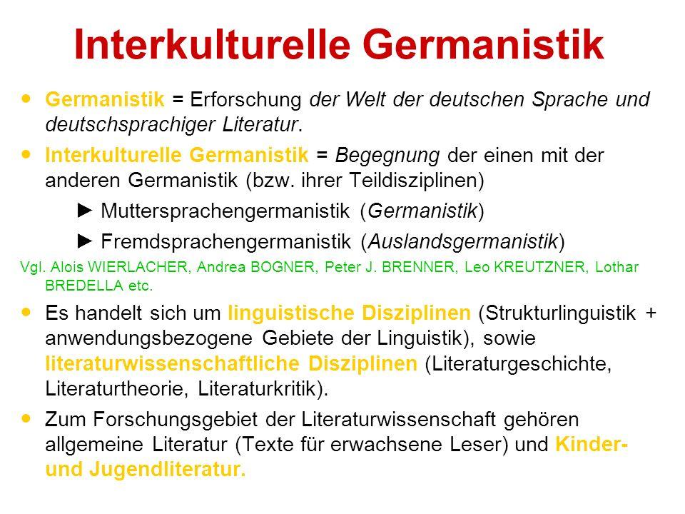 Interkulturelle Germanistik Germanistik = Erforschung der Welt der deutschen Sprache und deutschsprachiger Literatur.