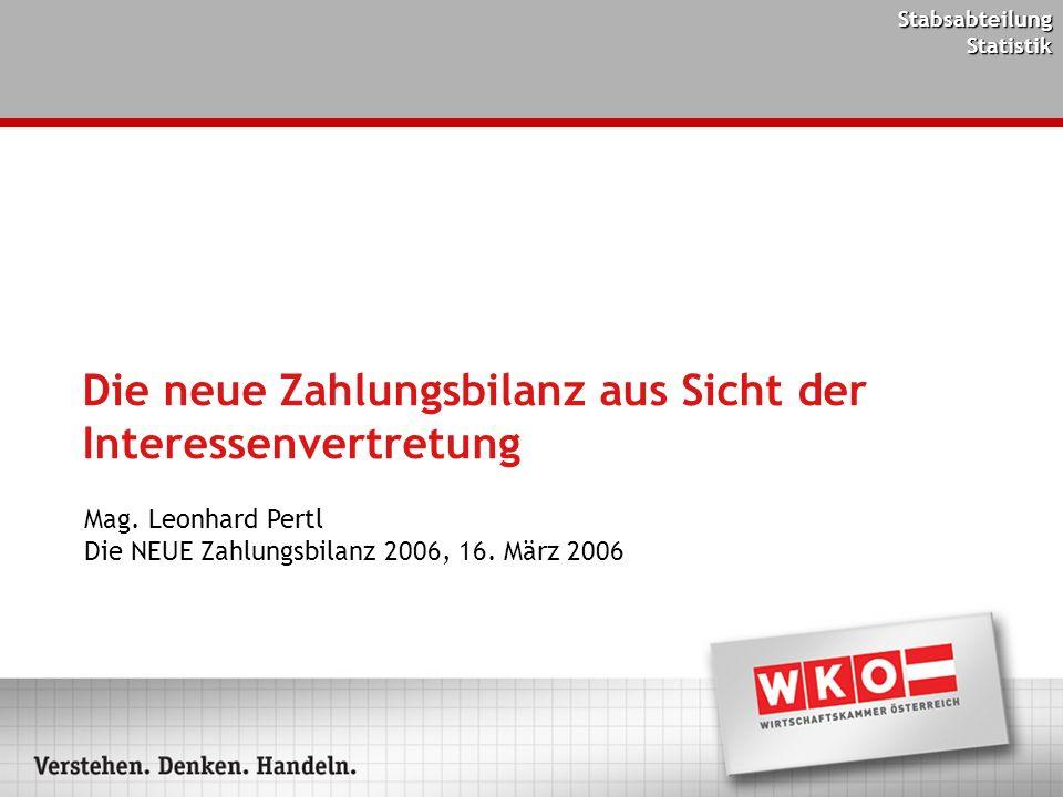 Stabsabteilung Statistik Die neue Zahlungsbilanz aus Sicht der Interessenvertretung Mag. Leonhard Pertl Die NEUE Zahlungsbilanz 2006, 16. März 2006