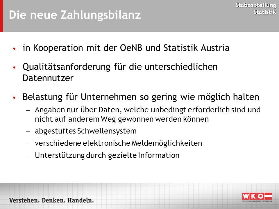 Stabsabteilung Statistik Die neue Zahlungsbilanz in Kooperation mit der OeNB und Statistik Austria Qualitätsanforderung für die unterschiedlichen Date