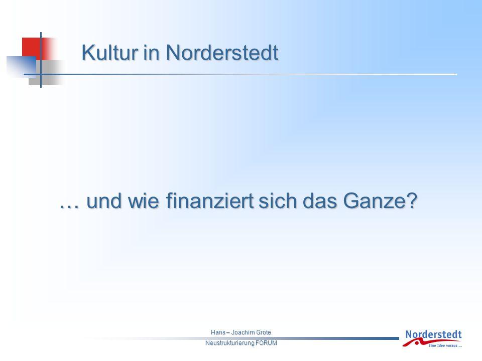 Hans – Joachim Grote Neustrukturierung FORUM Kultur in Norderstedt … und wie finanziert sich das Ganze.