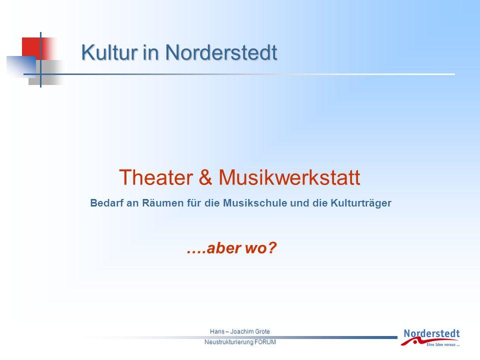 Hans – Joachim Grote Neustrukturierung FORUM Kultur in Norderstedt Theater & Musikwerkstatt Bedarf an Räumen für die Musikschule und die Kulturträger ….aber wo