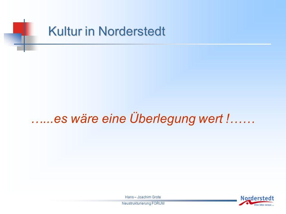 Hans – Joachim Grote Neustrukturierung FORUM Kultur in Norderstedt …...es wäre eine Überlegung wert !……