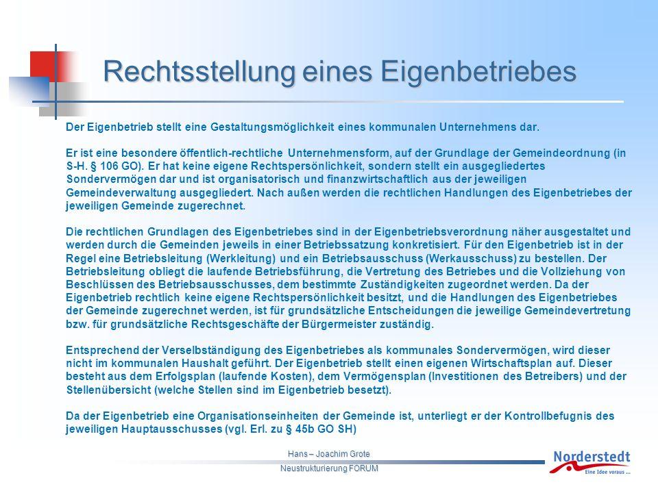 Hans – Joachim Grote Neustrukturierung FORUM Der Eigenbetrieb stellt eine Gestaltungsmöglichkeit eines kommunalen Unternehmens dar.