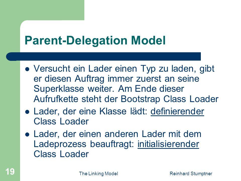 The Linking ModelReinhard Stumptner 19 Parent-Delegation Model Versucht ein Lader einen Typ zu laden, gibt er diesen Auftrag immer zuerst an seine Superklasse weiter.
