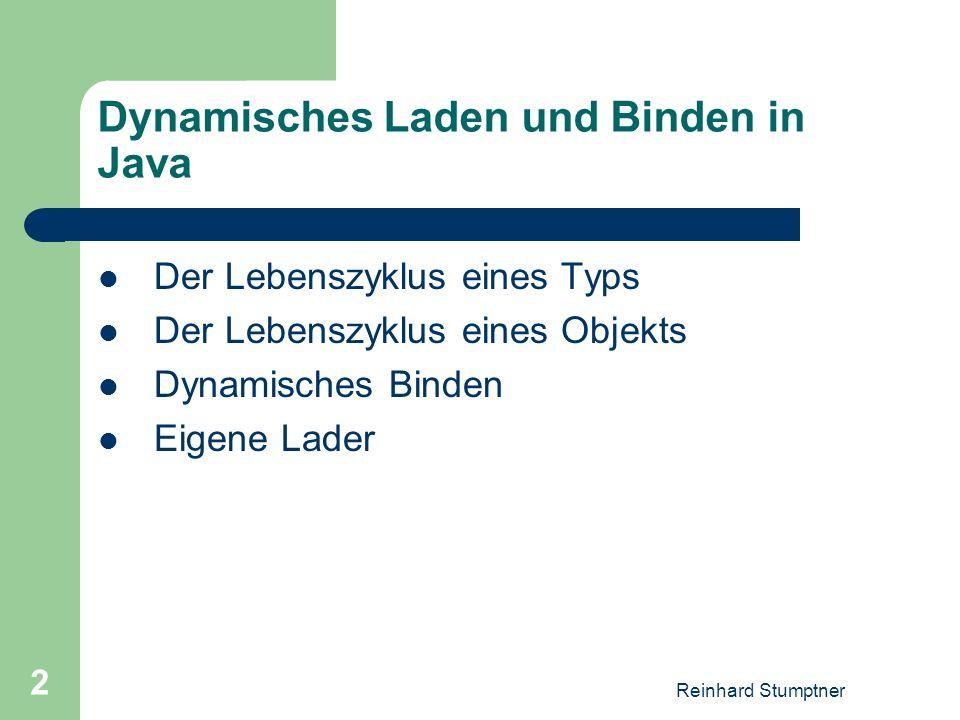 Reinhard Stumptner 2 Dynamisches Laden und Binden in Java Der Lebenszyklus eines Typs Der Lebenszyklus eines Objekts Dynamisches Binden Eigene Lader