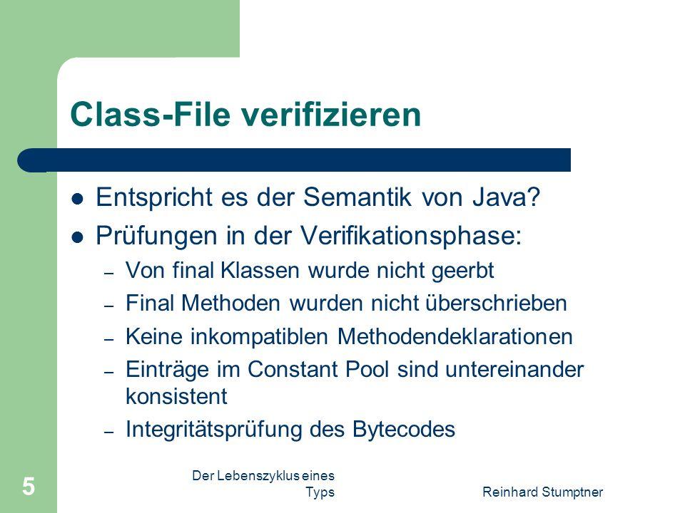 Der Lebenszyklus eines TypsReinhard Stumptner 5 Class-File verifizieren Entspricht es der Semantik von Java.