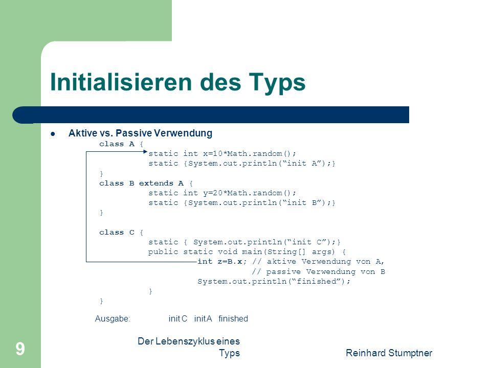 Der Lebenszyklus eines TypsReinhard Stumptner 9 Initialisieren des Typs Aktive vs.