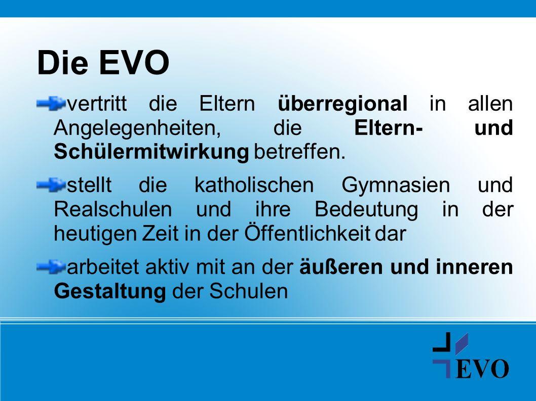 Die EVO vertritt die Eltern überregional in allen Angelegenheiten, die Eltern- und Schülermitwirkung betreffen. stellt die katholischen Gymnasien und