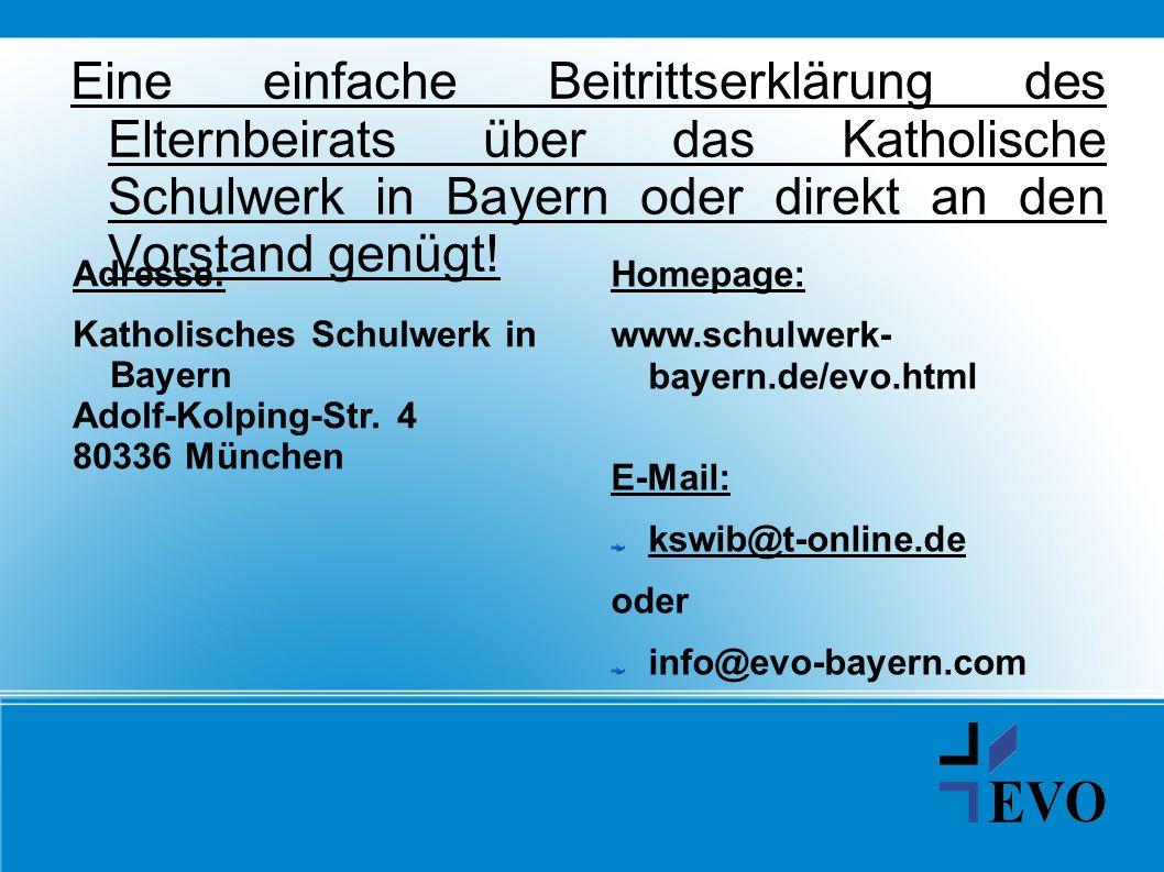Eine einfache Beitrittserklärung des Elternbeirats über das Katholische Schulwerk in Bayern oder direkt an den Vorstand genügt! Adresse: Katholisches