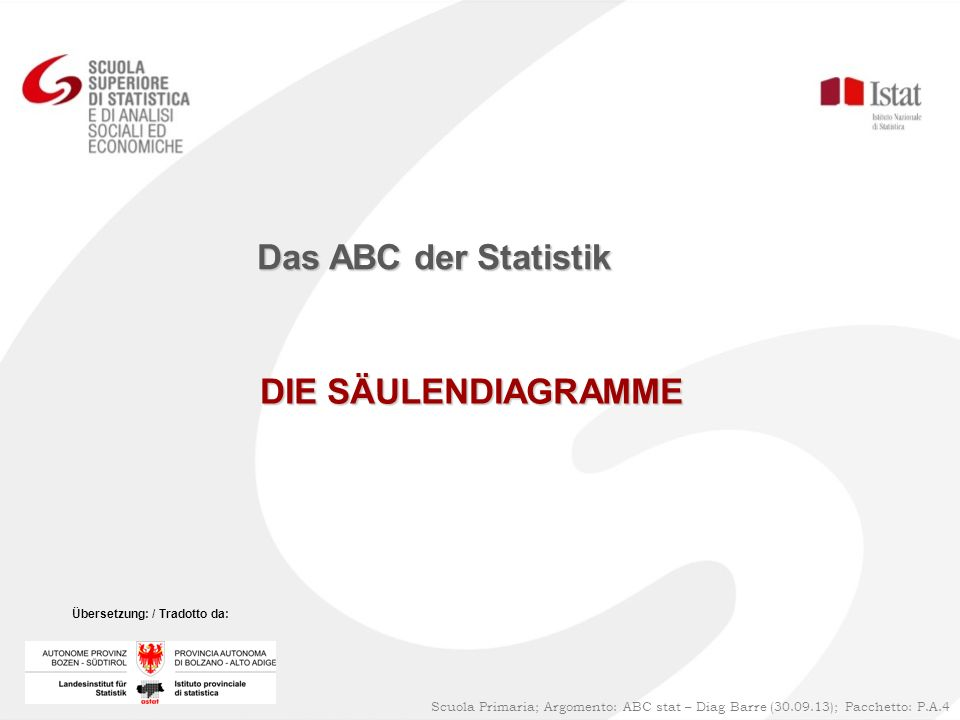 DIE SÄULENDIAGRAMME Das ABC der Statistik Scuola Primaria; Argomento: ABC stat – Diag Barre (30.09.13); Pacchetto: P.A.4 Übersetzung: / Tradotto da: