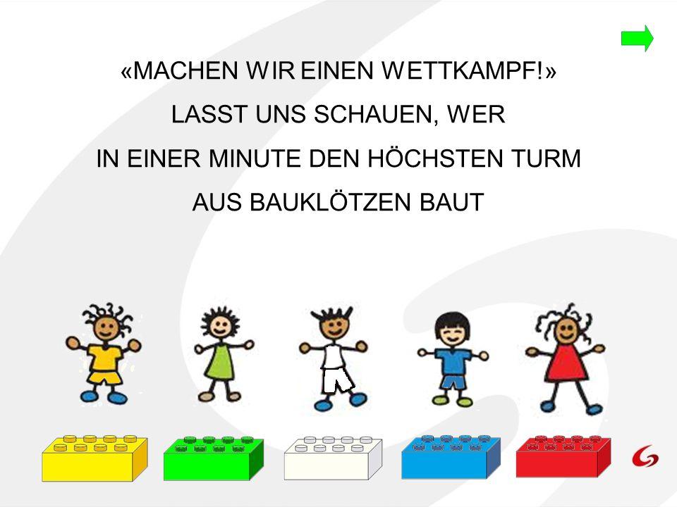 13 12 11 10 9 8 7 6 5 4 3 2 1 0 Anzahl der Bauklötze, welche die Kinder beim ersten Wettkampf übereinander gestapelt haben GELB GRÜN WEISS BLAU ROT FARBE = 1 Bauklotz DIAGRAMM- FLÄCHE KLICKE WEITER AUF DIE ROTEN PFEILE DAS IST DER BEREICH, DER DIE GRAFIK ENTHÄLT.