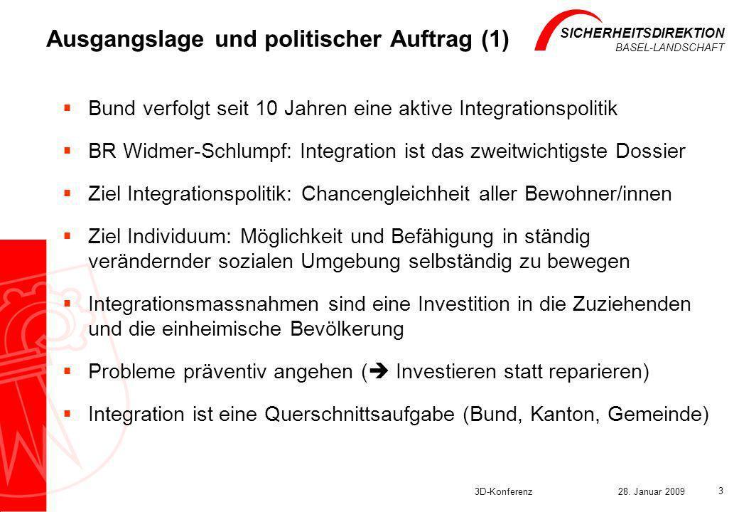 SICHERHEITSDIREKTION BASEL-LANDSCHAFT 3D-Konferenz28. Januar 2009 3 Ausgangslage und politischer Auftrag (1) Bund verfolgt seit 10 Jahren eine aktive