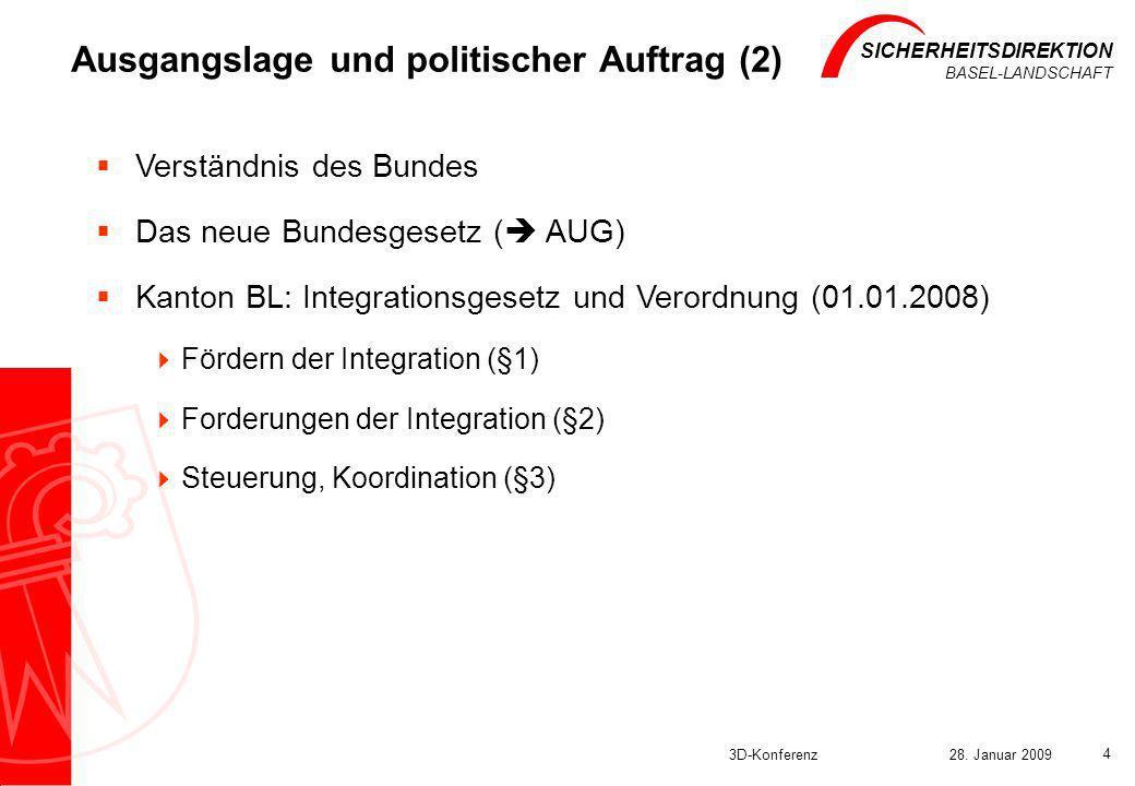 SICHERHEITSDIREKTION BASEL-LANDSCHAFT 3D-Konferenz28. Januar 2009 4 Ausgangslage und politischer Auftrag (2) Verständnis des Bundes Das neue Bundesges