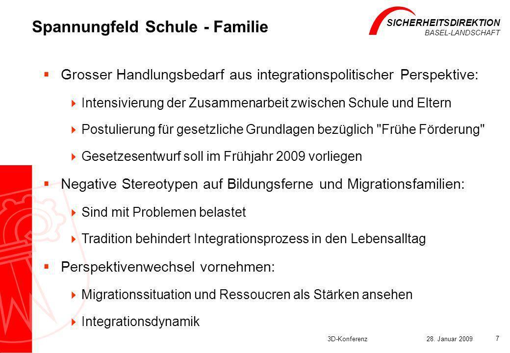 SICHERHEITSDIREKTION BASEL-LANDSCHAFT 3D-Konferenz28. Januar 2009 7 Spannungfeld Schule - Familie Grosser Handlungsbedarf aus integrationspolitischer