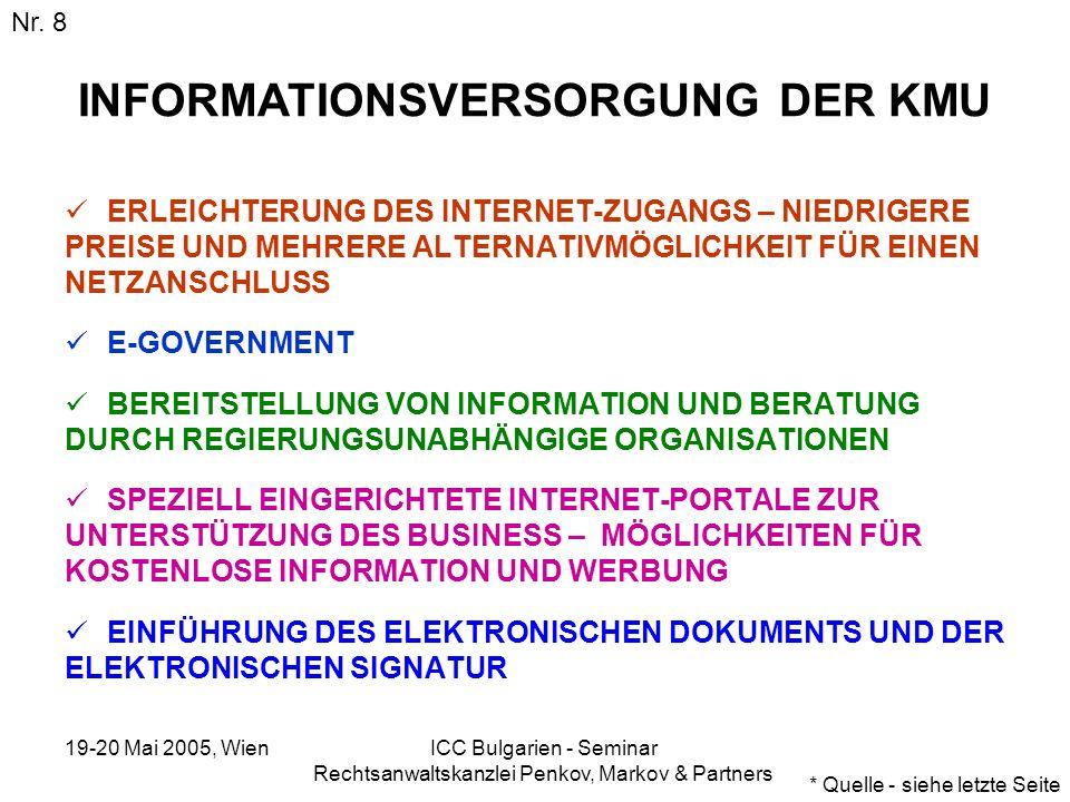 19-20 Mai 2005, Wien ICC Bulgarien - Seminar Rechtsanwaltskanzlei Penkov, Markov & Partners INFORMATIONSVERSORGUNG DER KMU ERLEICHTERUNG DES INTERNET-