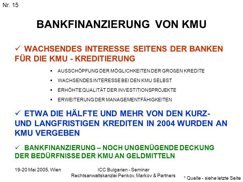 19-20 Mai 2005, Wien ICC Bulgarien - Seminar Rechtsanwaltskanzlei Penkov, Markov & Partners BANKFINANZIERUNG VON KMU WACHSENDES INTERESSE SEITENS DER