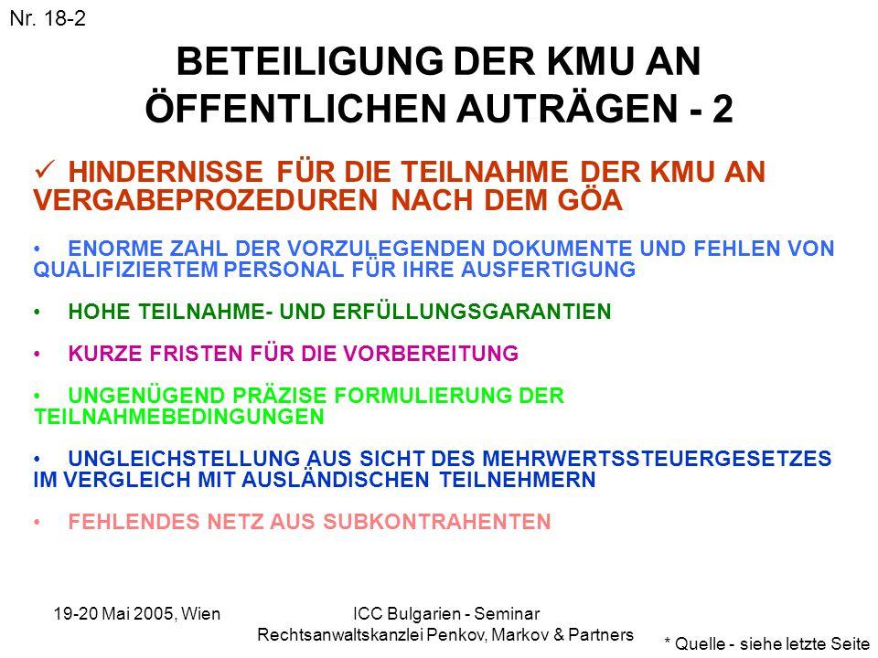 19-20 Mai 2005, Wien ICC Bulgarien - Seminar Rechtsanwaltskanzlei Penkov, Markov & Partners BETEILIGUNG DER KMU AN ÖFFENTLICHEN AUTRÄGEN - 2 HINDERNIS