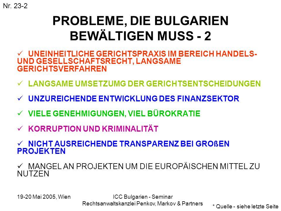 19-20 Mai 2005, Wien ICC Bulgarien - Seminar Rechtsanwaltskanzlei Penkov, Markov & Partners PROBLEME, DIE BULGARIEN BEWÄLTIGEN MUSS - 2 UNEINHEITLICHE