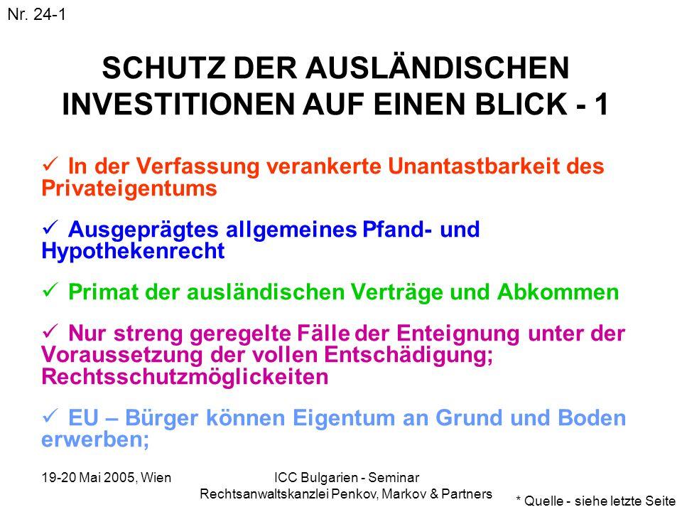 19-20 Mai 2005, Wien ICC Bulgarien - Seminar Rechtsanwaltskanzlei Penkov, Markov & Partners SCHUTZ DER AUSLÄNDISCHEN INVESTITIONEN AUF EINEN BLICK - 1