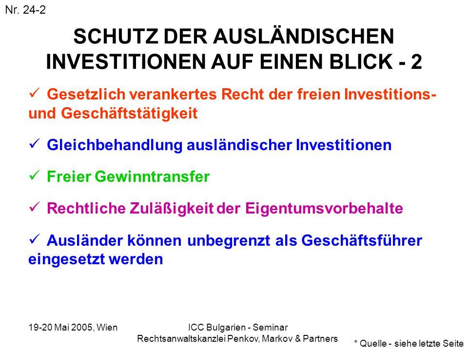 19-20 Mai 2005, Wien ICC Bulgarien - Seminar Rechtsanwaltskanzlei Penkov, Markov & Partners SCHUTZ DER AUSLÄNDISCHEN INVESTITIONEN AUF EINEN BLICK - 2