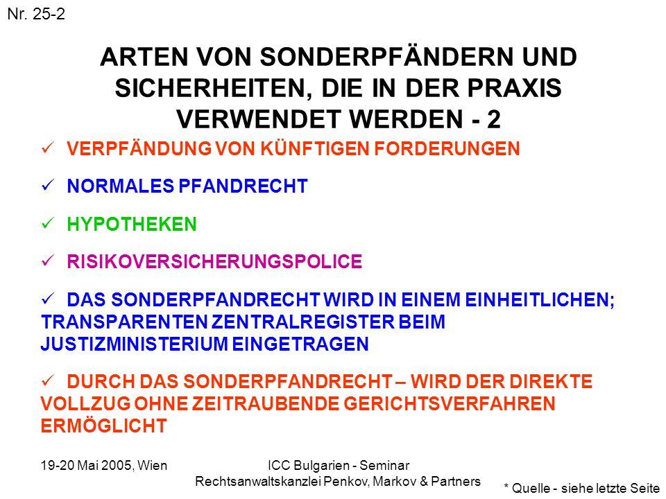19-20 Mai 2005, Wien ICC Bulgarien - Seminar Rechtsanwaltskanzlei Penkov, Markov & Partners ARTEN VON SONDERPFÄNDERN UND SICHERHEITEN, DIE IN DER PRAX