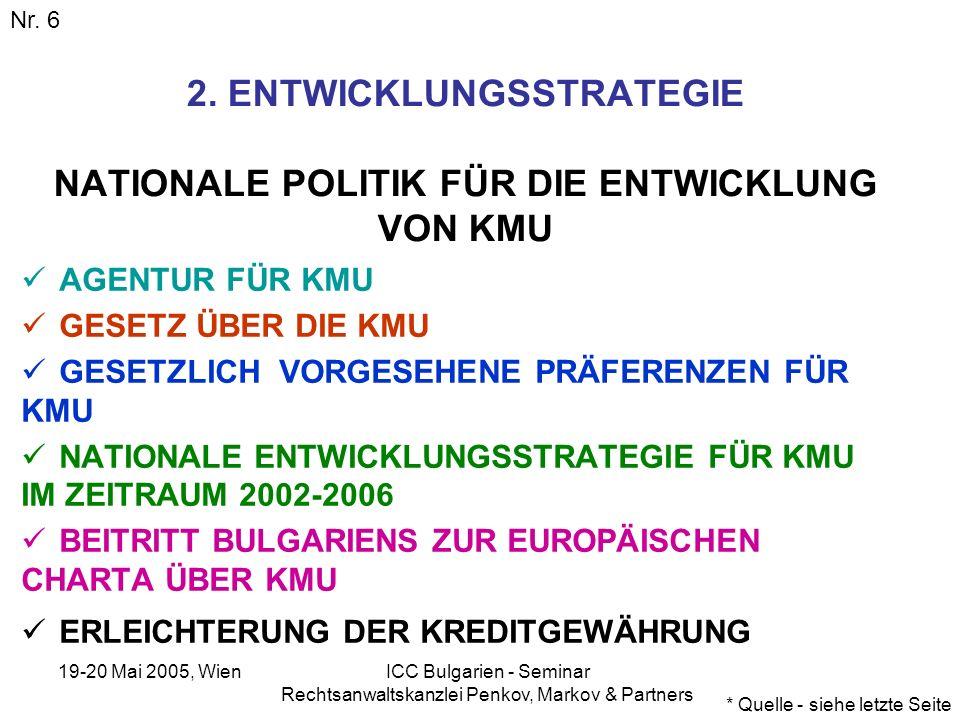 19-20 Mai 2005, Wien ICC Bulgarien - Seminar Rechtsanwaltskanzlei Penkov, Markov & Partners GUTE VORAUSSETZUNGEN FÜR DIE ENTWICKLUNG VON GEMEINSAMEN KMU (JOINT VENTURE) MIT ÖSTERREICHISCHEN UNTERNEHMEN HOHE WACHSTUMSRATEN UM 5 % NIEDRIGES INFLATIONSNIVEAU VIELE MARKTNISCHEN GUTE LAND-, SEE- UND LUFTVERBINDUNG 15 % KÖRPERSCHAFTSSTEUER – MIT DER TENDENZ AUF REDUZIERUNG GUT AUSGEBILDETE FACHKRÄFTE NIEDRIGES LOHNNIVEAU BIS 2007 PRÄFERENZEN BEI ÖFFENTLICHEN AUFTRÄGEN IN MANCHEN REGIONEN – PRÄFERENZEN UND STAATLICHE SUBVENTIONIERUNG ANGENOMMEN WURDEN ÄNDERUNGEN IM BULGARISCHEN GRUNDGESETZ, DIE DEN ERWERB VON GRUND UND BODEN DURCH AUSLÄNDER ZULASSEN.